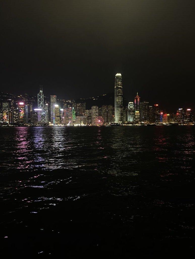 Skyline Hong Kong Island bei Nacht